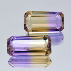 Two ametrine pieces – 6.93 ct. ( 3.22 ct. + 3.71 ct. ) – No Reserve Price