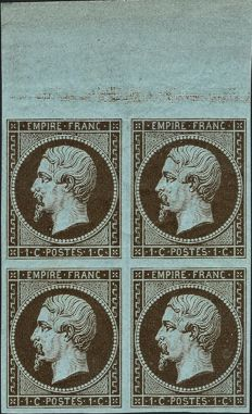 France 1865 - Empire non-perforated bronze 1 centime in block of 4 signed Brun with certificate - Yvert no. 11c