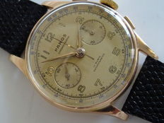 PAROS chronograph 18kt/750 rose vintage men´s wristwatch, 1940s/1960s, revised
