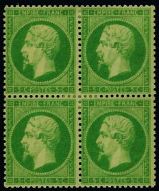 France 1862 – perforated Empire, 5 centimes, green yellow on greenish, block of 4 signed by Roumet – Maury No. 20a