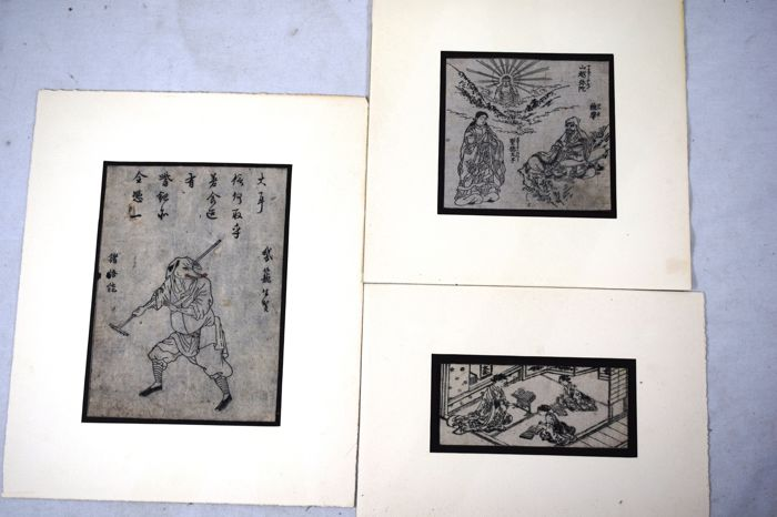 Three woodcuts - Japan - late 19th century