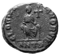 Roman Empire - Aelia EUDOXIA (as Augusta 395-404 AD), Æ3 (Empress enthroned and Manus Dei above) - 16mm; 2.93g / RIC X 83, ANTB