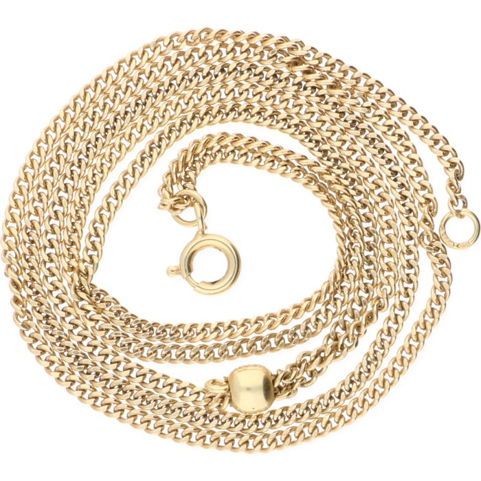14 kt yellow gold curb link necklace with an adjustable length - length: max. 58 cm.