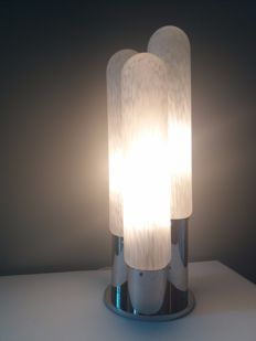 Aldo Nason for Mazzega Murano-  table lamp made of Murano glass and chromed brass