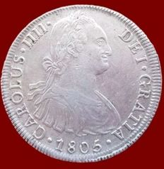 Spain – Carlos IV, 8 silver Reales, Lima 1805 – 40 mm / 27.4 gr