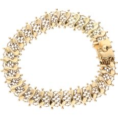 14 kt Yellow gold fantasy link bracelet – Length: 19.5 cm