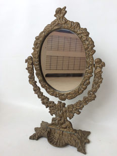 Brass vanity mirror in Rococo style, first half 20th century