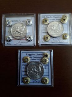 Kingdom of Italy - lot of 1 Lira coins from 1915, 1916 and 1917 (3 coins) - Vittorio Emanuele III - Silver
