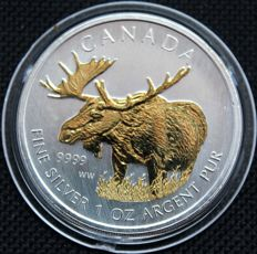 Canada - 5 dollars 2012 'Elk' with gold application - 1 oz silver