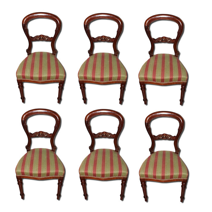 Group of 6 Victorian chairs - mahogany - England - circa 1880