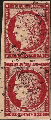 France 1849 – Cérès 1 franc carmine, cancelled vertical pair DS2, signed by Brun and Calves – Yvert No. 6
