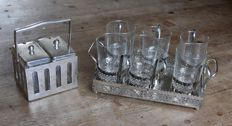 Silver plated jam set with glass containers and a set of 6 tea glasses on a serving platter