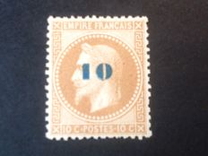 France 1871 – Napoleon Never sent from 1863 overprinted 10 s. 10 c. signed Calves with digital certificate – Yvert no. 34