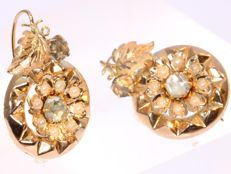 Antique red gold flower earrings with pearls and imitation diamonds - anno 1890