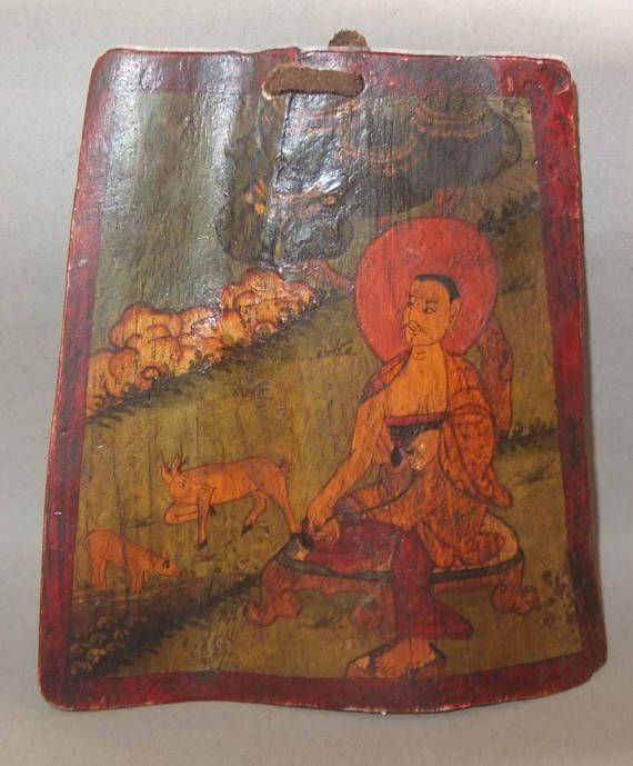 Milarepa painting on bone - Nepal / Tibet - early 20th century