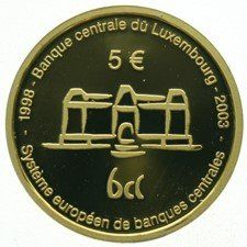 "Luxembourg – 5 Euro 2003 ""European Central Bank"" in capsule – gold"