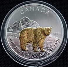 Canada – 5 Dollars 2011 'Grizzly bear' with gold decoration – 1 oz silver