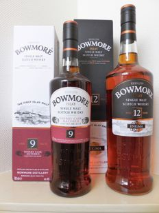 Bowmore Enigma 12 years old 1 litre / Bowmore Sherry Cask 9 years old 70cl