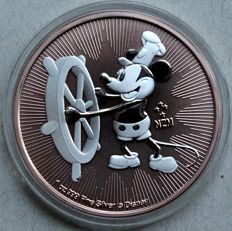 Niue - 2 dollars 2017 'Mickey Mouse / Steamboat Willie' rose gilded - 1 oz silver