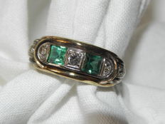 1920s emerald 0.40ct, diamond ring approx. 0.10ct with TW-SI brilliant in 585/14kt