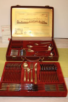 "SBS Solingen ""royal collection - 70 piece cutlery 24 carat gold with certificate"