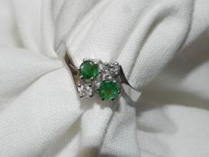 Emerald diamond ring approx. 0.30 ct with 0.20 ct of brilliants TW-SI made of 585 / 14 kt gold – size 17.5 mm