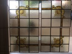 Four gorgeous old Jugendstil handmade stained glass windows / suncatchers of oxide silver with soft colours - from approximately 1920