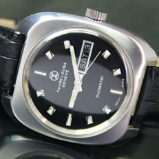 Vintage Favre Leuba Duomatic Automatic Steel Mens Watch Black Dial