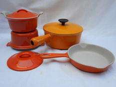 Beautiful lot of three cooking pots and a frying pan, enamel cast iron __ Le Creuset __ Cousances __ everything like new!!