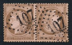 France 1873 – Ceres 10c brown top to tail pair, signed by Brun + Certificate – Yvert No. 58c