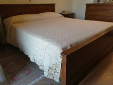 Double crochet blanket of pure cotton linen - small squares all joined together - 2.50 x 2.40 metres