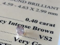 Diamond – 0.40 ct - Intense Brown / VS2 - VG/VG/VG ** No Reserve **