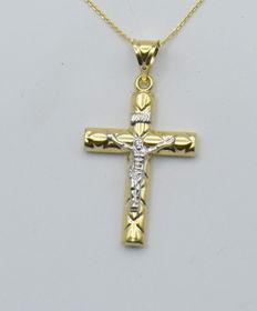 14 carat yellow and white gold chain with cross  - 45 cm