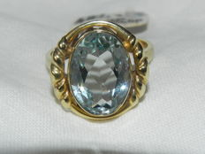 Aquamarine 15 ct cocktail ring, 14 kt/585 gold, 6.3 g, never worn