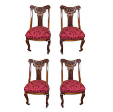 Set of 4x Victorian style chairs in walnut wood - Italy, ca. 1870