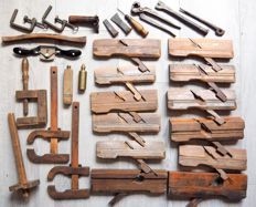 Collection of antique Nooitgedagt carpentry or cabinet maker tools.