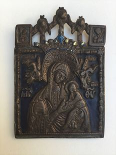 Old bronze enamelled Russian icon.