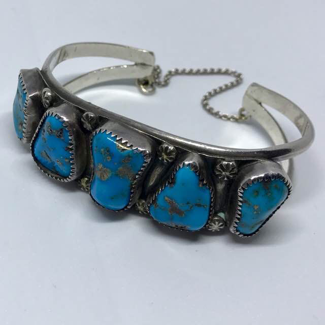 Navajo Zuni Native American Old Pawn Sterling Silver Turquoise Cuff Bracelet