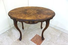 Walnut wood oval table - Biedermeier - 19th century