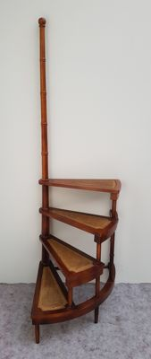 Large mahogany library ladder - Mid 20th century