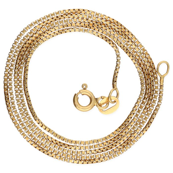 18 kt yellow gold Venetian link necklace – Length: