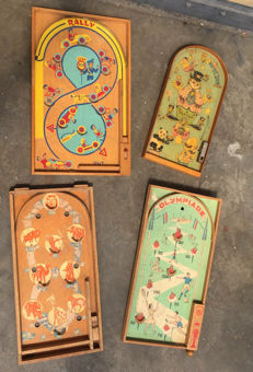 Four rolling ball boards - various makes - 60s - Netherlands
