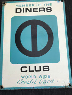 Beautiful authentic advertising sign Member of the Diners club - rare!