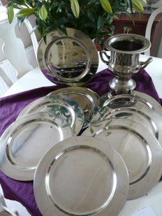 9 silver plated under plates and plate wine cooler.