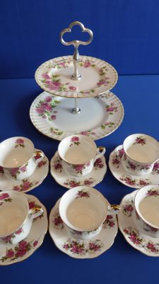 Royal Albert English cups and saucers + 2-tier cake stand.
