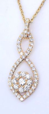 14 kt gold pendant set with 56 cut diamonds, 0.50 ct in total – 42 cm *** No reserve price ***