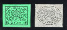 Stato Pontificio 1867 - Lot of two 2c. verde giallo & 3c. grigio - Sassone: 13, 15