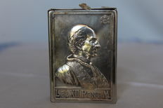 Reliquary of Pope Leo XIII, silver metal box with a cloth inside, dating back to 1877, Italy