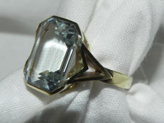 Natural aquamarine, 13 ct cocktail ring, 14 kt / 585 gold, 5.3 g Never worn!