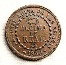 Spain - Isabel II - 1 Decima de Real in Copper - 1850 - Segovia